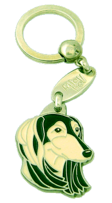 SALUKI BLACK AND CREAM - pet ID tag, dog ID tags, pet tags, personalized pet tags MjavHov - engraved pet tags online